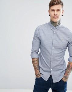 Синяя приталенная рубашка из саржи с начесом Farah Tensington - Синий