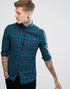 Темно-синяя приталенная рубашка в клетку Farah Waithe - Темно-синий