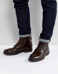 Коричневые ботинки-броги из искусственной кожи на шнуровке ASOS - Коричневый