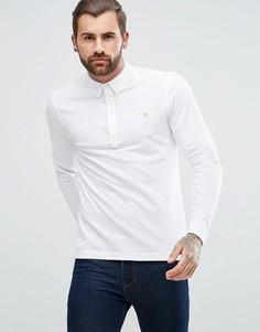 Белая узкая футболка-поло из пике с длинными рукавами Farah Merriweather - Белый