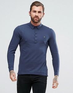 Темно-синяя узкая футболка-поло из пике с длинными рукавами Farah Merriweather - Темно-синий