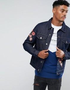 Синяя джинсовая куртка с цветочной вышивкой Hype - Синий