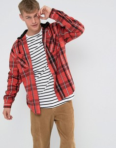 Клетчатая рубашка классического кроя с капюшоном ASOS FESTIVAL - Красный