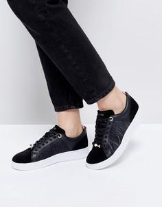 Черные кожаные кроссовки Ted Baker - Черный