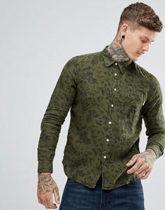 Льняная рубашка хаки с цветочным принтом PS by Paul Smith - Зеленый