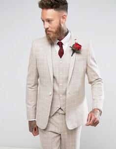 Облегающий пиджак в клетку с добавлением шерсти ASOS - Серый