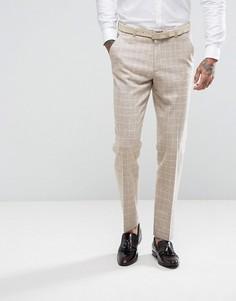Суженные книзу брюки в клетку с добавлением шерсти ASOS - Серый
