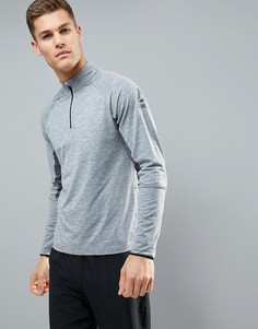 Серый спортивный свитшот с молнией до середины груди Reebok BR2051 - Серый