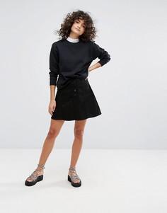 Джинсовая юбка-трапеция Waven - Черный