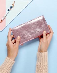 Узкий кожаный кошелек металлик с клапаном ASOS - Розовый
