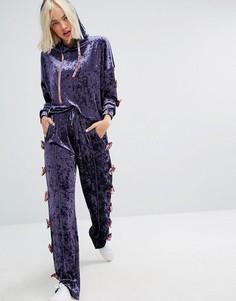 Свободные бархатные джоггеры с бантами по бокам Lazy Oaf - Фиолетовый