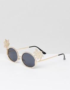 Солнцезащитные очки с пальмами ASOS - Золотой