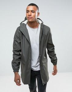 Водонепроницаемая куртка средней длины с капюшоном D-Struct - Зеленый