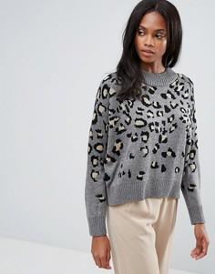 Вязаный джемпер из смешанной шерсти с леопардовым узором H.One - Серый