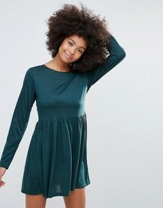 Трикотажное короткое приталенное платье Brave Soul - Зеленый
