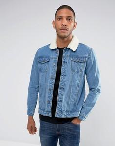 Джинсовая куртка с воротником из искусственного меха Brave Soul - Синий