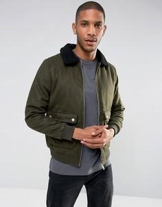 Шерстяная куртка Харрингтон с воротником борг Brave Soul - Зеленый