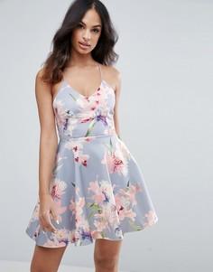 Короткое приталенное платье с цветочным принтом New Look Summer - Серый