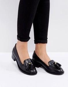 Кожаные лоферы на каблуке с эффектом крокодиловой кожи и кисточками Park Lane - Черный