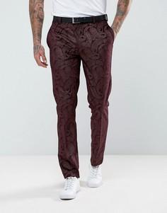 Бордовые брюки скинни под смокинг из бархата с узором пейсли ASOS - Красный