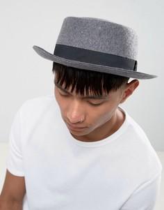 Серая меланжевая шляпа с узкими полями ASOS - Серый