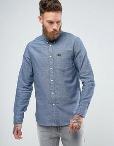 Теплая саржевая рубашка классического кроя с воротником на пуговицах и карманом Lee - Синий