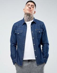 Джинсовая узкая рубашка в стиле вестерн Lee - Темно-синий