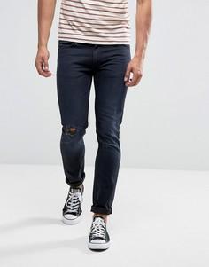 Синие джинсы скинни с прорехами и заплатками Lee - Темно-синий