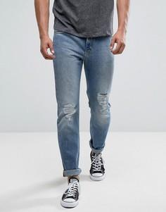 Светлые рваные джинсы слим Lee Rider Mega - Синий