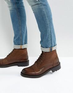 Кожаные ботинки на шнуровке Walk London Sean - Коричневый