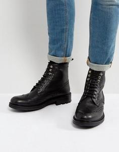 Кожаные ботинки броги Walk London Sean - Черный