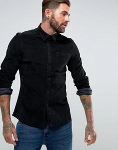 Черная вельветовая рубашка узкого кроя ASOS - Черный