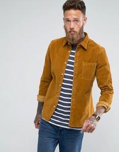 Облегающая вельветовая рубашка горчичного цвета ASOS - Рыжий