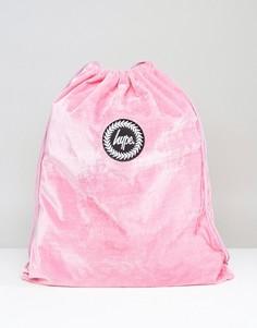 Эксклюзивный розовый бархатный рюкзак на шнурке Hype - Розовый