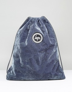 Эксклюзивный серый бархатный рюкзак со шнурком Hype - Серый