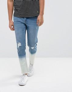 Синие выбеленные эластичные джинсы слим с рваной отделкой ASOS - Синий