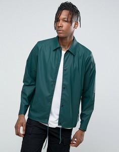 Темная сине-зеленая спортивная непромокаемая куртка Rains - Зеленый