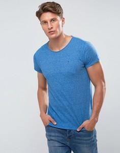 Синяя меланжевая футболка с логотипом Tommy Hilfiger Denim - Синий