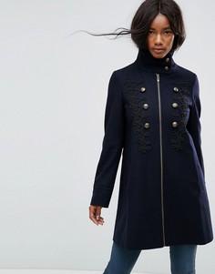 Пальто в стиле милитари с плетеной отделкой ASOS - Темно-синий