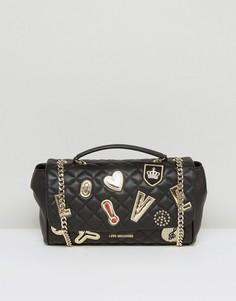 Стеганая сумка на плечо с нашивками Love Moshino - Черный