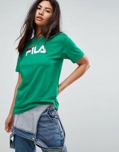 Оверсайз-футболка бойфренда с логотипом на груди Fila - Зеленый