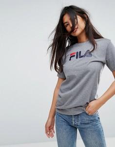 Оверсайз-футболка бойфренда с логотипом на груди Fila - Серый
