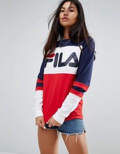 Оверсайз-футболка в стиле регби с контрастной отделкой и логотипом на груди Fila - Мульти