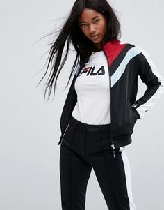 Спортивная куртка в стиле колор блок на молнии Fila - Черный