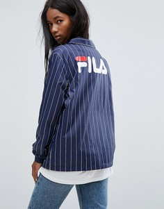Свободная спортивная куртка в полоску с логотипом на спине Fila - Темно-синий