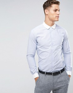 ASOS Smart Stretch Slim Oxford Stripe Shirt In Navy With Contrast Collar and Cuffs - Синий