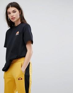 Oversize-футболка бойфренда с выбеленным логотипом Ellesse - Черный