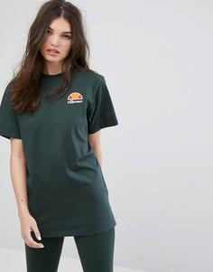 Oversize-футболка бойфренда с выбеленным логотипом Ellesse - Зеленый