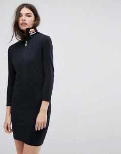 Облегающее платье с длинными рукавами и логотипом Ellesse - Черный