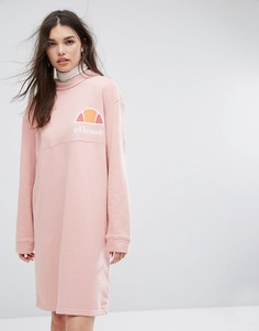 Трикотажное свободное платье с высокой горловиной Ellesse - Розовый
